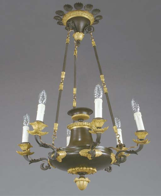 A FRENCH GILT AND PATINATED BRONZE SIX-LIGHT CHANDELIER