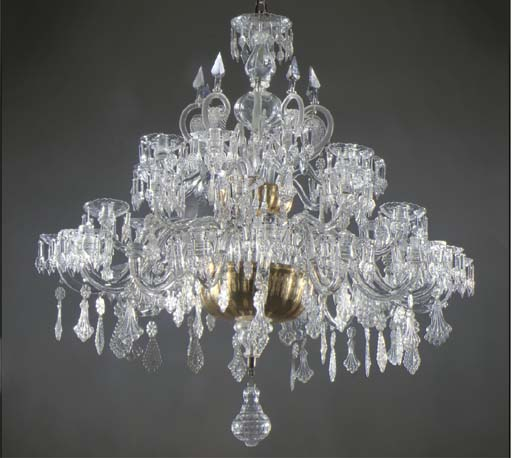 (3)  A NORTH-EUROPEAN GILT-GLASS, CUT-GLASS AND PRESSED-GLASS THIRTY-THREE- LIGHT CHANDELIER