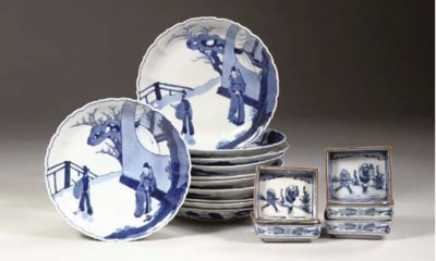 A set of eleven Arita blue and