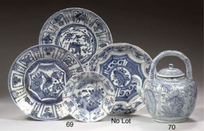 A blue and white wine-pot and