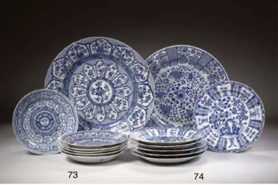 Two blue and white dishes and