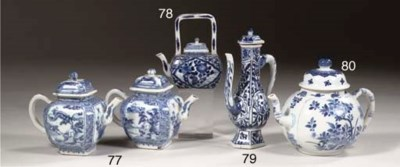 A blue and white teapot, silve