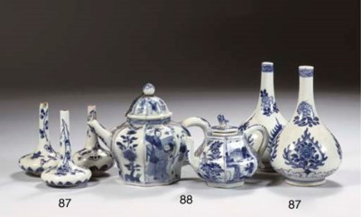 Two blue and white teapots, tw