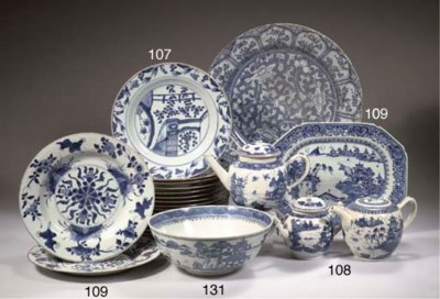 Three blue and white teapots a