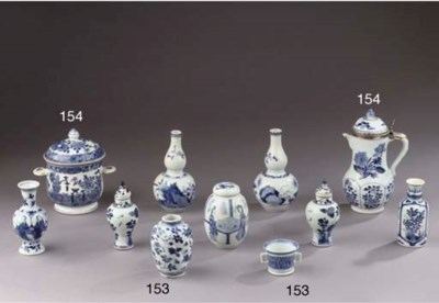 Two blue and white ewers and a