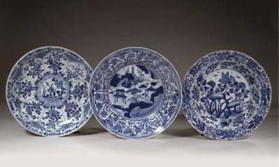 Three blue and white dishes