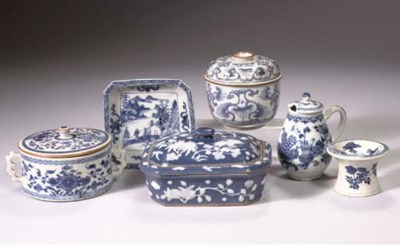 (8) A group of blue and white