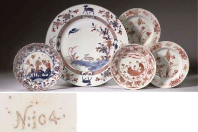 An Imari dish and plate and th