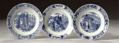 (5) A set of three blue and wh
