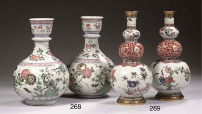 A pair of famille verte vases
