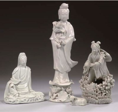 Four blanc-de-chine figures