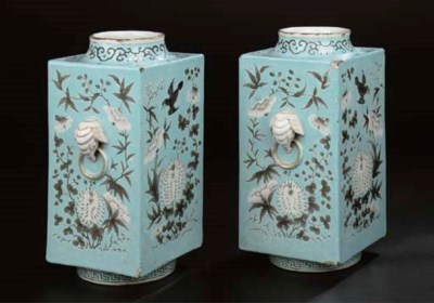 A pair of famille rose turquoi