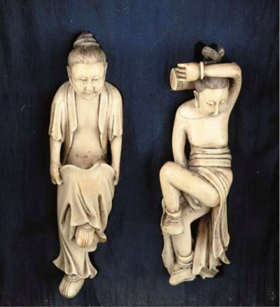 (3) Two ivory erotic figures