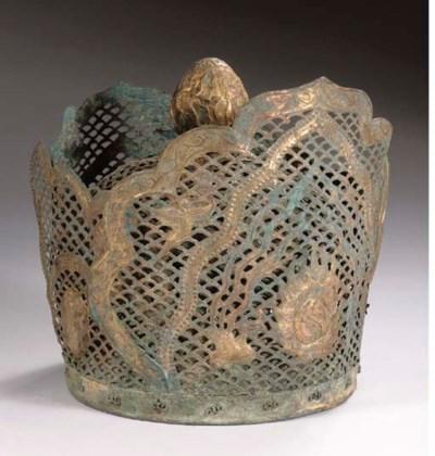 A copper-gilt openwork crown