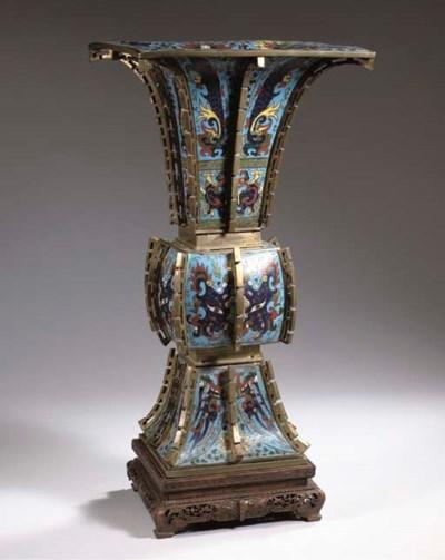 A large cloisonne gu vase