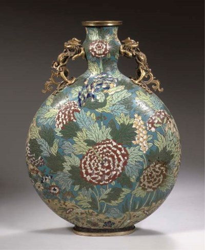 A large cloisonne enamel and g