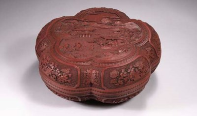 A red lacquer cinquefoil box a