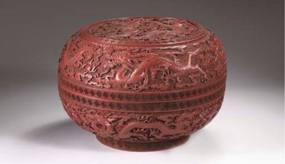 A large red lacquer 'dragon' b