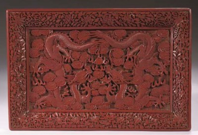 A red lacquer rectangular tray