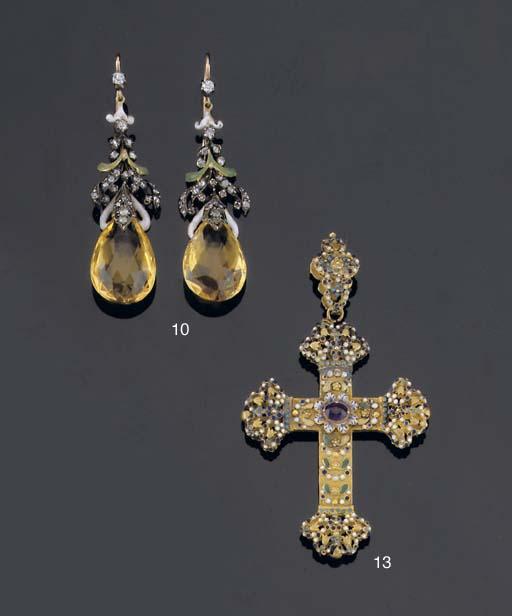 A PAIR OF RUSSIAN ENAMEL CITRINE AND DIAMOND EARRINGS