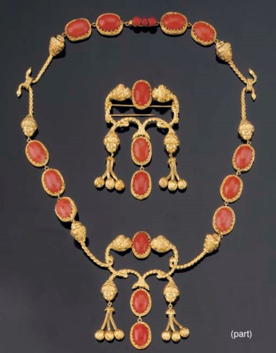 A GOLD AND CORAL PARURE