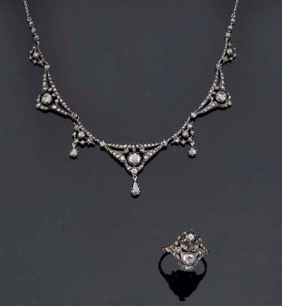 AN ANTIQUE ROSE DIAMOND NECKLA