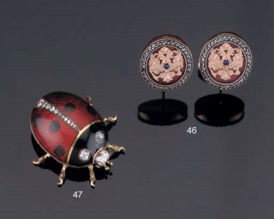 A PAIR OF RUSSIAN CUFF LINKS