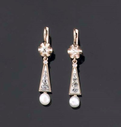A PAIR OF RUSSIAN PEARL AND DI