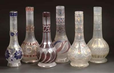 Six Bohemian cut glass hookah