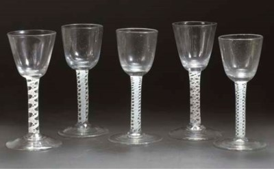Five opaque-twist goblets