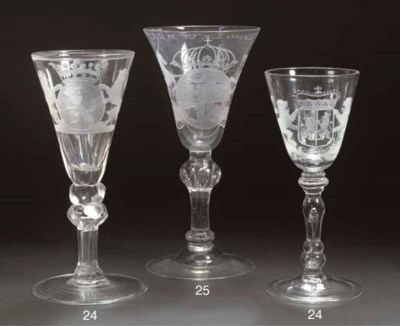 Two engraved armorial goblets