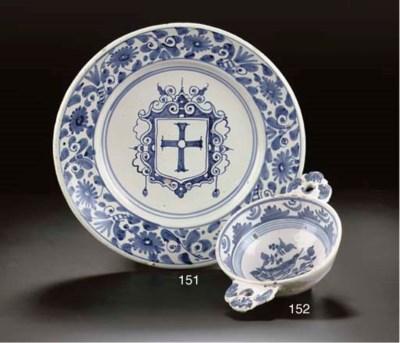 A Dutch maiolica blue and whit