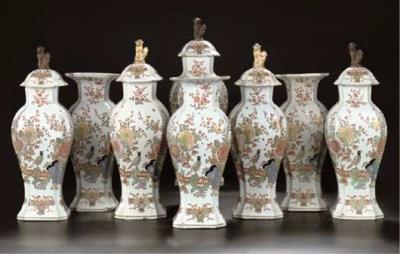 A Delftware eight-piece chinoi