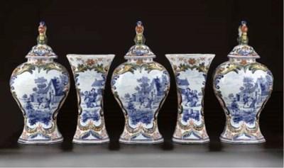 A Delftware polychrome five-pi