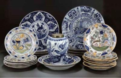 Twenty-one Dutch Delft dishes