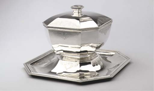 A Belgian Silver Soup Tureen, Cover and Stand