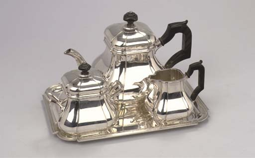 A Dutch silver three-piece teaservice with matching tray