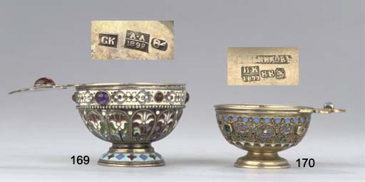 A silver-gilt and cloisonné enamel kovsh