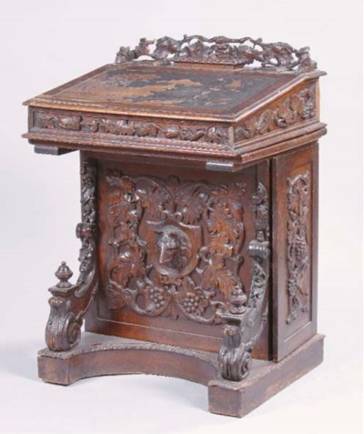 A VICTORIAN STAINED AND CARVED