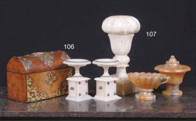(4) A CARVED ALABASTER LAMPFOO