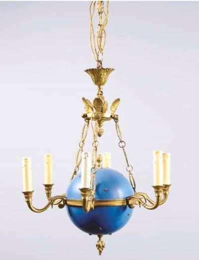 A GILT-BRONZE AND BLUE-PAINTED