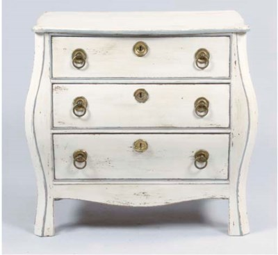 A DUTCH GREY-PAINTED COMMODE