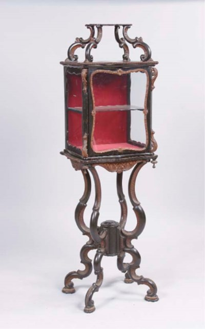 A DUTCH EBONISED AND STAINED W