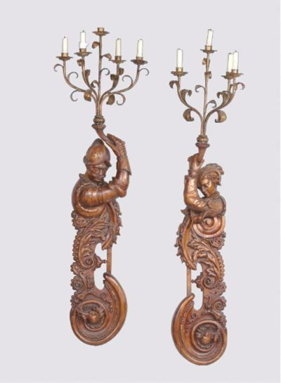 A PAIR OF PARCEL-GILT AND STAI
