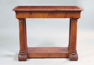 A MAHOGANY CONSOLE TABLE