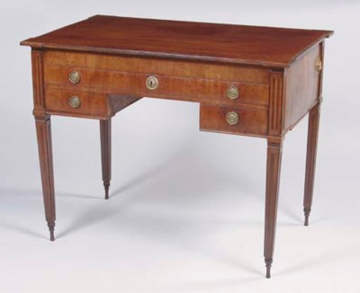 A DUTCH MAHOGANY WRITING TABLE