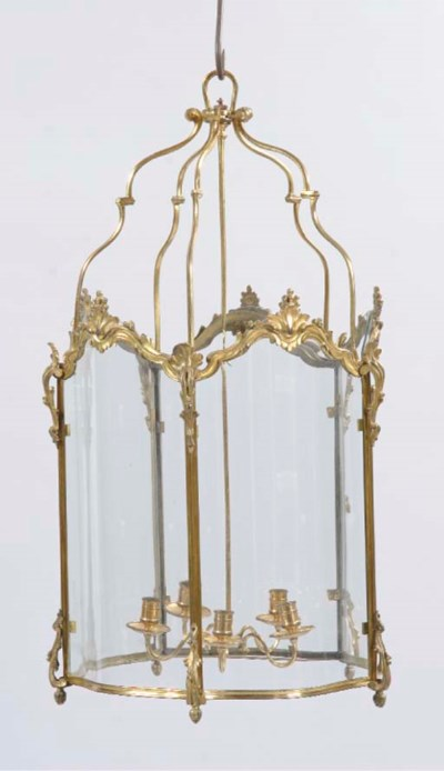 A GILT-BRASS HALL LANTERN