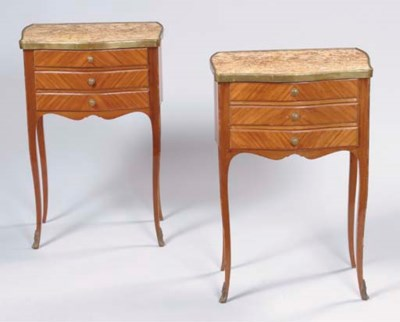 A PAIR OF TULIPWOOD AND MAHOGA