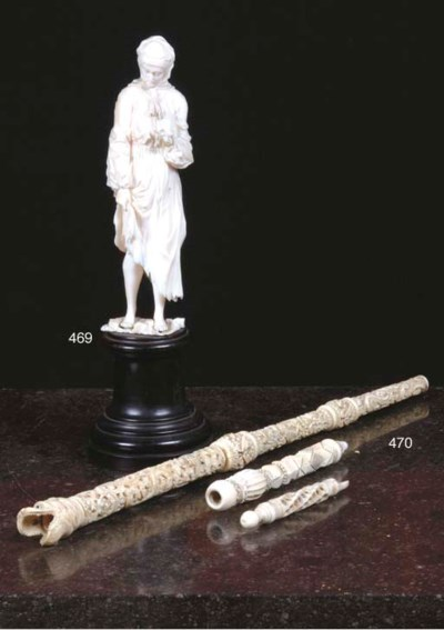 (3)  A RELIEF CARVED IVORY PIP