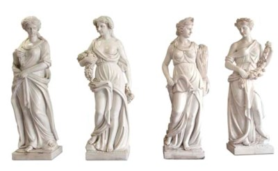 A GROUP OF FOUR CARVED MARBLE